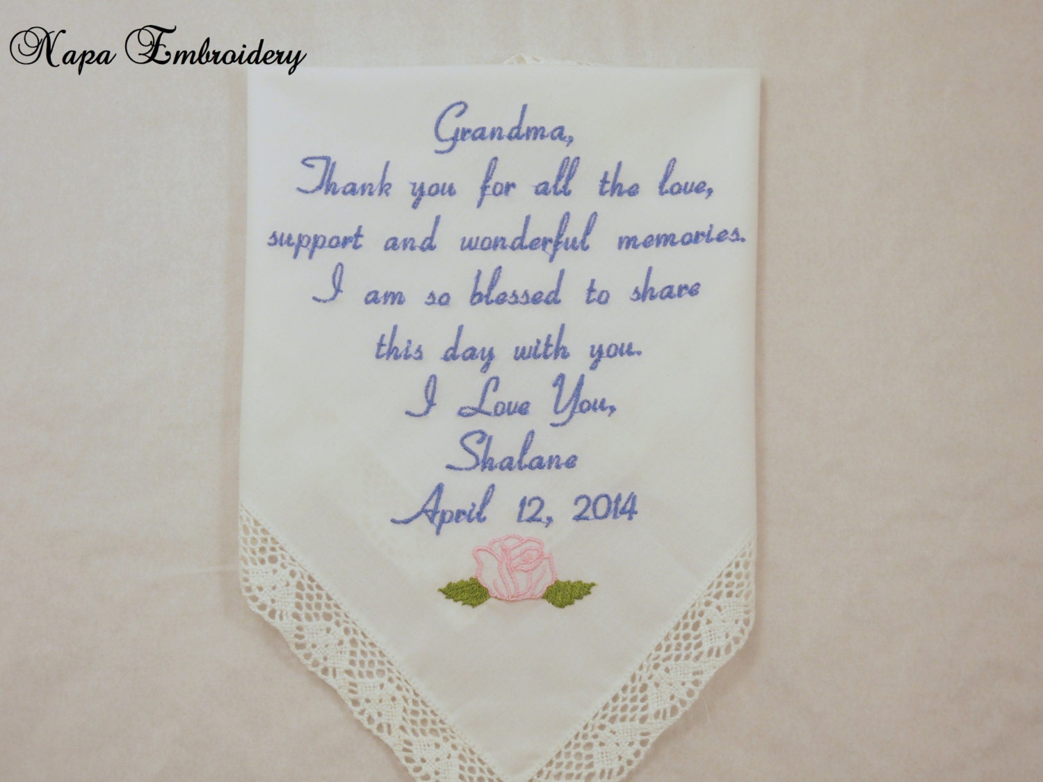 Gifts For Grandma Embroidered Wedding Handkerchief Great For Grandparent Grandmother Oma Of The
