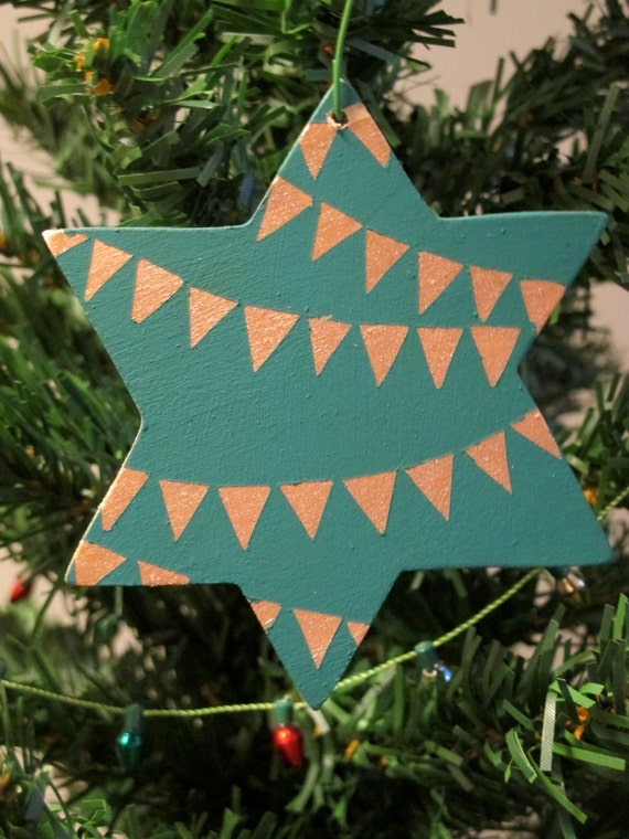 Hand-Painted Wooden Christmas Ornament--Teal Star of David With Gold Traingle Banners