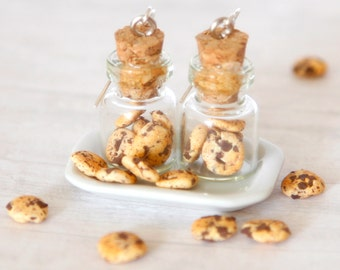 Earrings of chocolate chip cookies in a jar miniature food jewelry