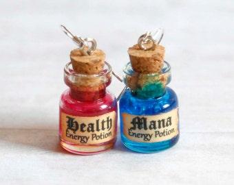 Mana and Health potion earrings, geek jewelry, miniature potion jewelry