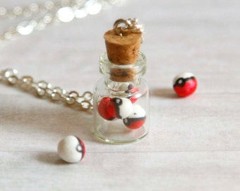Pokemon necklace, Pokeballs necklace, bottle miniature, cute jewelry, pokemon master, pokemon go trainer