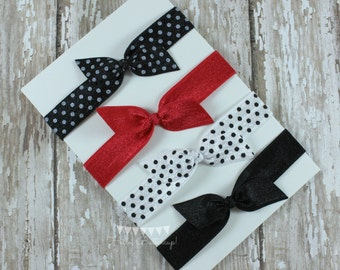 4 No Tug Elastic Hair Ties - Black and white Polka Dot Ponytail Holders - Red Hairties