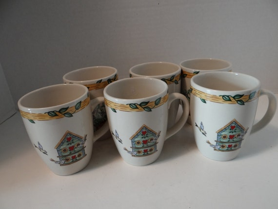 Vintage Thomson Pottery Bird House Collection (Set of 6) Coffee/Tea/Hot Cocoa Mugs-Cups Pristine Condition