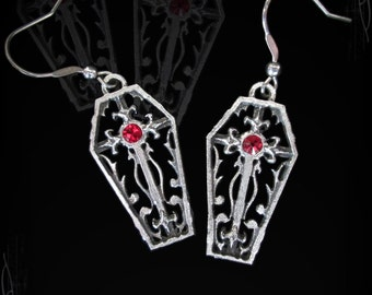 coffin earings, gothic jewelry, medieval jewelry, victorian jewelry, gothic earings, satanic jewelry, morbid jewelry, horror