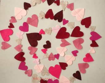 Felt Heart Garland (Reds and pinks)