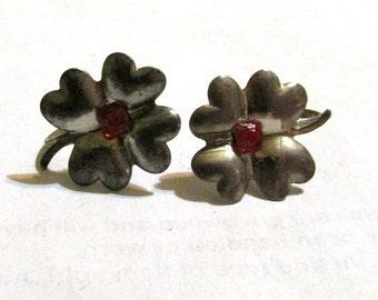 vintage antique signed STERLING silver screw back EARRINGS  gemstones GARNET ?