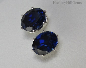 Sapphire Studs 8x6mm oval Lab Blue Sapphire Earrings, lab created sapphire, September Birthstone, oval blue gem stud earring, blue earrings