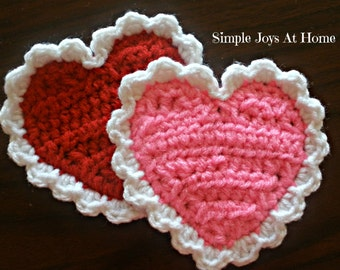 Crocheted Heart Coasters // Valentine's Coasters // Heart Coasters // Festive Table Decor // Wedding Gift // Valentines Gift