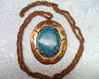 Vintage Solid Copper and faux turquoise pendant -  solid copper rope chain