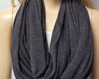 Dark Gray  Infinity Scarf SUPER Soft Knit