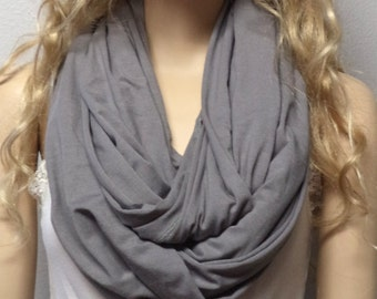 Gentle Gray  Infinity Scarf SUPER Soft Knit