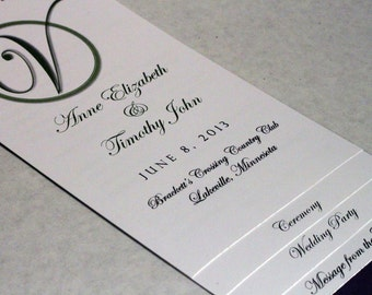 DIY 4 - PAGE - Layered Wedding Program Template - Circle Initial Design - w/ Guided Instructions