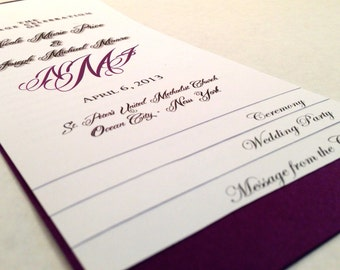 DIY - 6 PAGE Layered Wedding Program Template - Monogram Design - w/ Guided Instructions