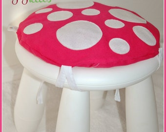 Toadstool Cushion Hot Pink - Children/Kids Cushion for Ikea Mammut Stool / Chair