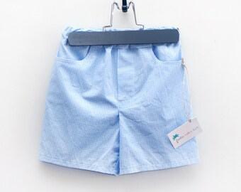 Boys Blue Gingham Shorts, Boys Summer Shorts, - Blue Gingham Shorts