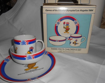 American Olympic Games, Official Olympic Childs Dish Set, Olympics Collectable, Los Angeles Olympics1984, Sam the Eagle, SPORTS,Collectiable