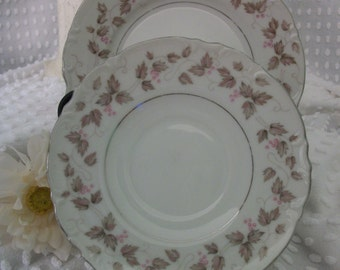 Vintage Mikasa Fine China Carlyle Pattern 9290 Saucer and Bread and Butter Plate