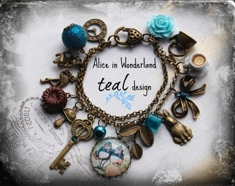 Alice in Wonderland Jewellery bracelet  handmade Gift-TEAL-Tweedledum and Tweedledee Twins design  Fimo chocolate love Eat me