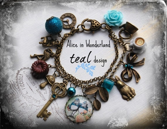 Alice in Wonderland Jewellery bracelet  handmade Gift-TEAL-Tweedledum and Tweedledee Twins design  Fimo chocolate love Eat me