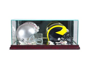 Double Mini Helmet Display Case Glass & Mirror UV NCAA NFL