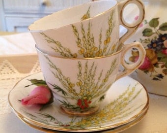 Vintage Royal Stafford hand painted Broom Teacup and Saucer pair with hand painted yellow and gold flowers. TS059
