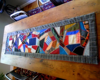 Designer Table Runner 15 X 62 Antique Wool Crazy Quilt