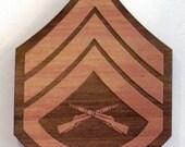 USMC Staff Sergeant Insignia Wooden Fridge Magnet