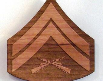 USMC Corporal Insignia Wooden Fridge Magnet