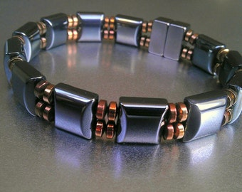 Classic Men's Magnetic Bracelet Double Strand with Copper or Silver Accents ~