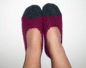 Gray Violet Crochet Women's Wool Slippers Socks Handmade Women's Slippers Hand Knitted Travel Slippers Bed Socks Slippers
