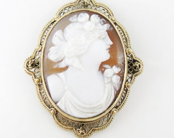 Amazing Art Nouveau Filigree Pendant or Brooch with Fine Shell Cameo VU2E4N-P