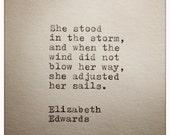 Elizabeth Edwards Inspirational Quote Made on Typewriter