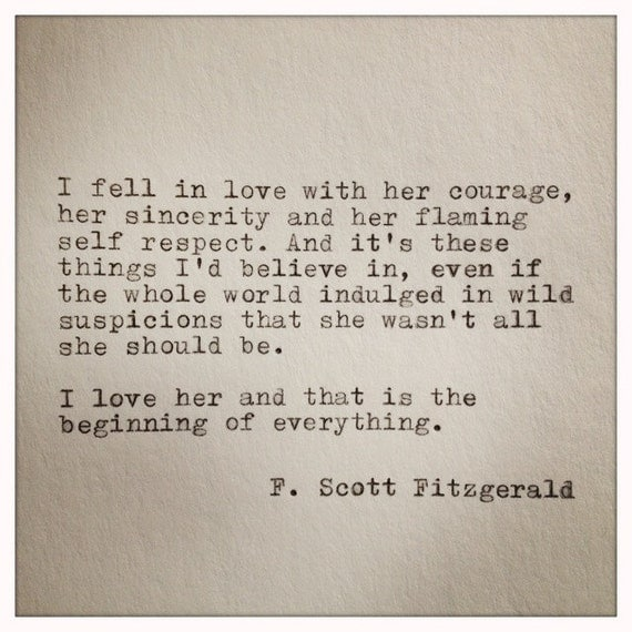 Great Love Quotes For Her: F. Scott Fitzgerald Typewriter Quote On LOVE / Handtyped Quote