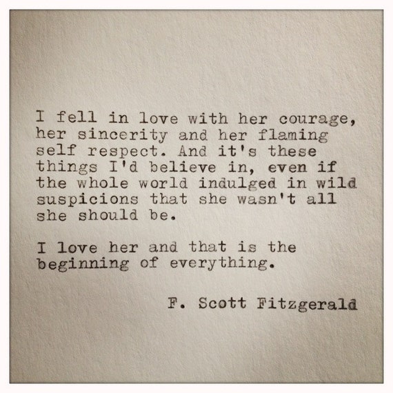 F Scott Fitzgerald Quotes About Love : Scott Fitzgerald Love Quote Made On by WhiteCellarDoor on Etsy