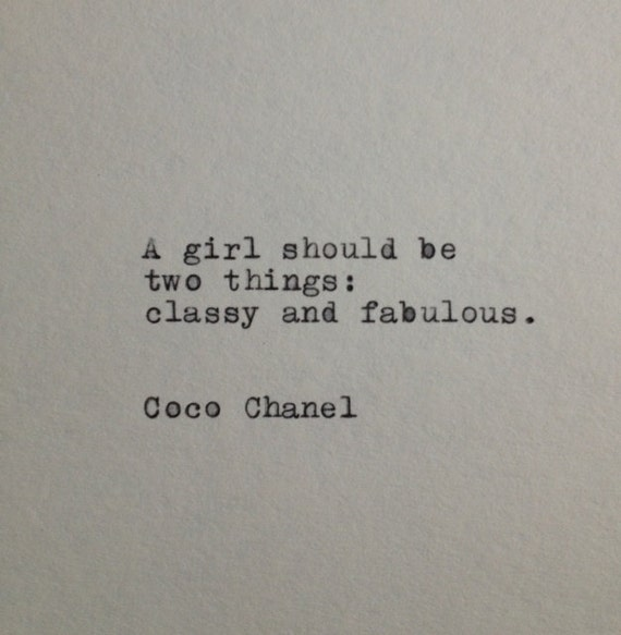 coco chanel quote typed on typewriter on by whitecellardoor. Black Bedroom Furniture Sets. Home Design Ideas