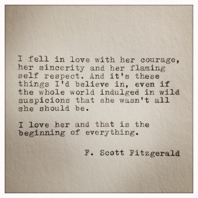 I Love You Quotes Books : Scott Fitzgerald Typewriter Quote on LOVE / handtyped quote