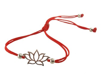 FREE SHIPPING Lotus bracelet Yoga bracelet Silver bracelet String bracelet Red bracelet Enter FREESHIP2017 coupon code at checkout