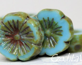 Czech Coin Flower 14mm - Sky Blue with Picasso 15mm (094-4)