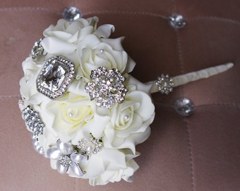 Spectacular Silk Brooch Wedding Bouquet - White Roses and Brooch Jewel Bride Bouquet - Rhinestones