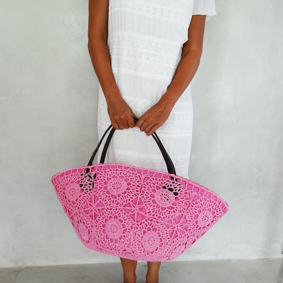 Crochet Straw Beach Bag Tutorial And Pattern : Crochet Bag Large Straw Beach Bag by MOOSSHOP on Etsy