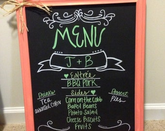 Wedding chalkboard menu sign lime green and coral or for bridal/couples shower