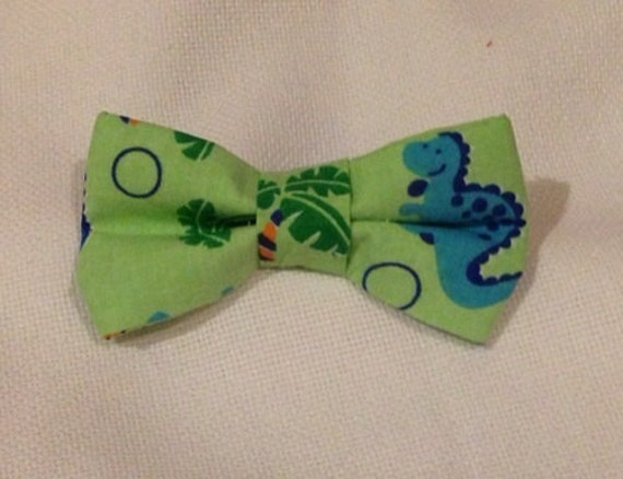 dinosaur bow tie green tie clip on infant tie toddler