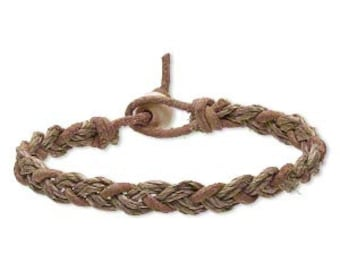 Leather and Hemp Bracelet in Tan - Leather Bracelet - Hemp Bracelet - Tan Bracelet - Braided Bracelet