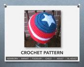 Captain America beanie CROCHET PATTERN - 6 sizes