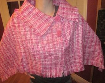 Wool Cape/Poncho/Shawl (SMALL Pink woven)