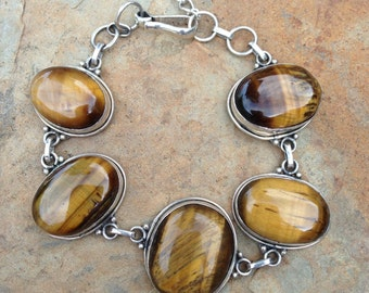 ON SALE Awesome Tigers Eye and Sterling Link Bracelet