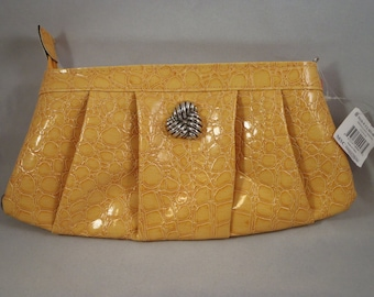 Retro Style Yellow Clutch with Polka Dots Lining