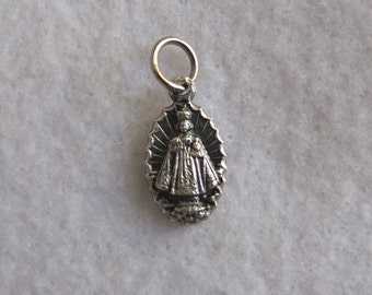 Infant of Prague Sacred Heart Silver Oxidized Metal Small Pendant Charm Religious Catholic  Medal