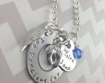 Too precious for earth hand stamped stainless steel necklace