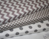 Grey Chevron Fabric - Small Grey dots - Medium Grey Dots - Fabric BUNDLE -  By Riley Blake Designs -  3  Yards